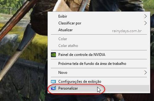 Personalizar área de trabalho Windows 10