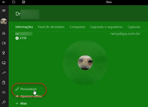 personalizar dados app Xbox Windows 10