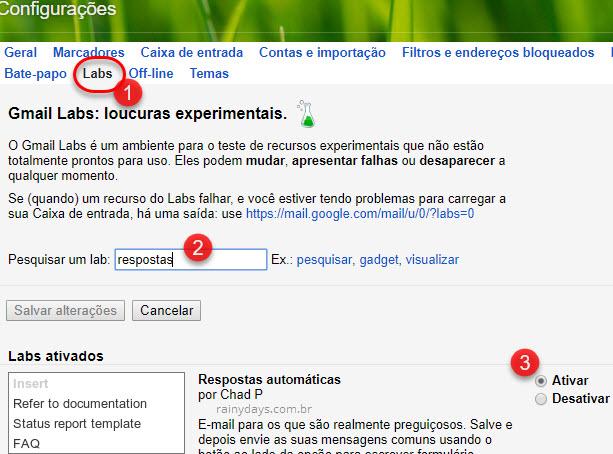 Respostas automáticas no Gmail