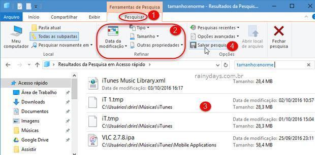 Como salvar buscas realizadas no Windows