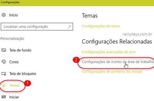 Temas Configurações de ícones da área de trabalho