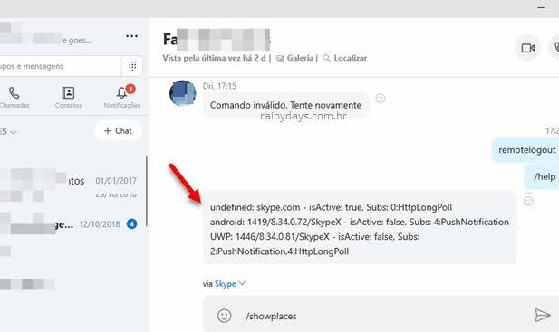 Verificar dispositivos conectados no Skype sessões ativas