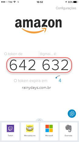Adicionando Amazon no Authy 2