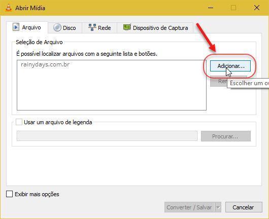 Adicionar arquivo abrir mídia VLC
