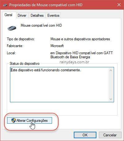 Alterar Configurações do mouse