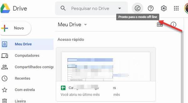 Ativar Google Drive offline pronto para modo offline