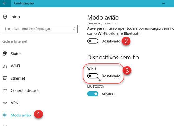 Ativar Modo Avião do Windows 10 ou desativar wifi