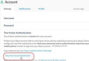Como ativar verificação em duas etapas no Slack