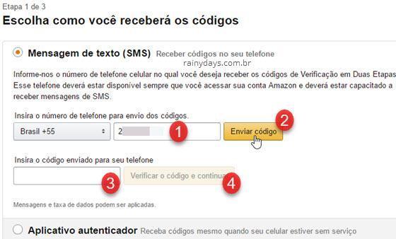 Ativar verificação em duas etapas Amazon 2
