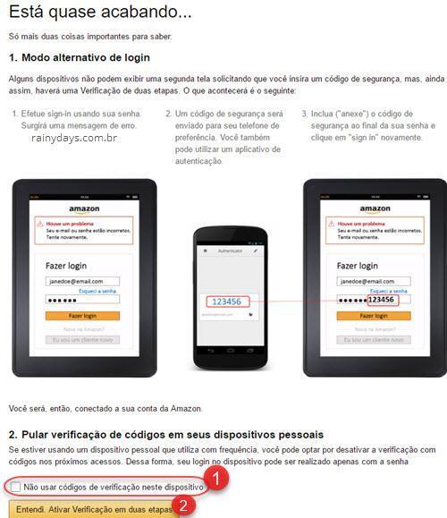 Ativar verificação em duas etapas Amazon 4