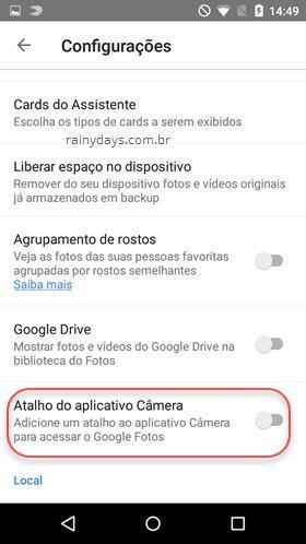 Como colocar o Google Fotos na câmera do Android
