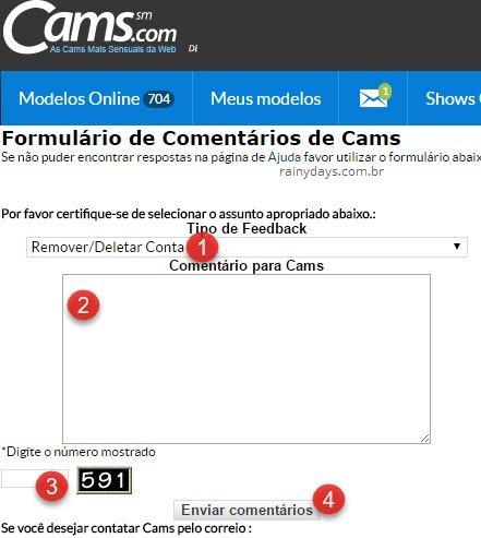 Como excluir conta do Cams.com 6