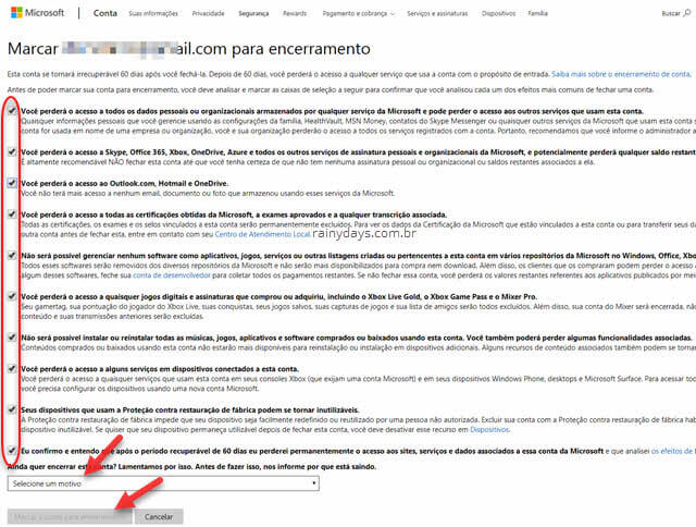 Como excluir conta da Microsoft permanentemente