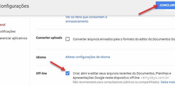 Concluir ativação modo offline do Google Drive