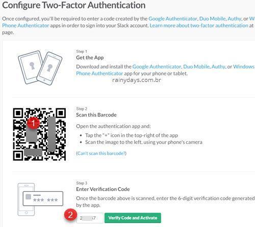 Configurando verificação em duas etapas Slack