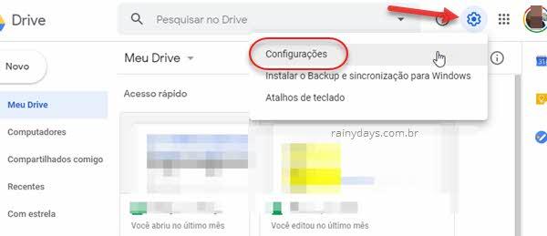 Configurações Google Drive