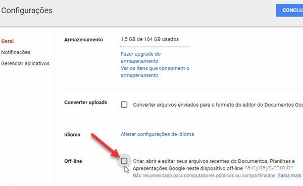 Configurações offline Google Drive