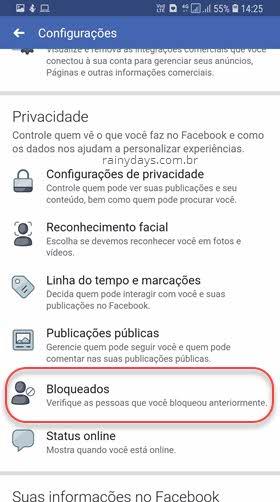 Configurações Privacidade Bloqueados Facebook app