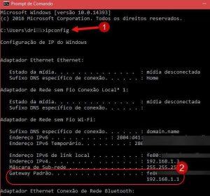 Como descobrir IP do modem roteador