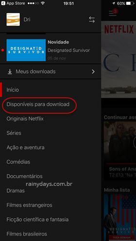 Disponíveis para download no Netflix