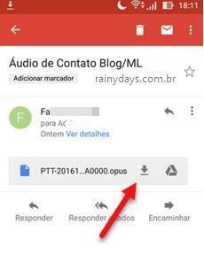 Download de arquivo de áudio do WhatsApp Android