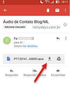 Download de arquivo de áudio do WhatsApp Android