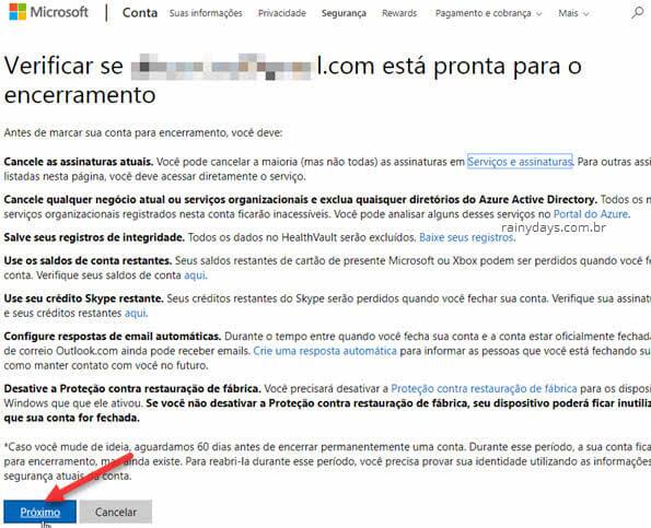 Encerramento da conta Microsoft para cancelar email Outlook