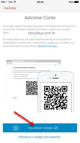 Escanear código QR com Authy