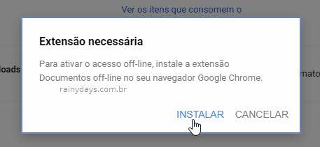 extensão Chrome Documentos Offline Google Drive