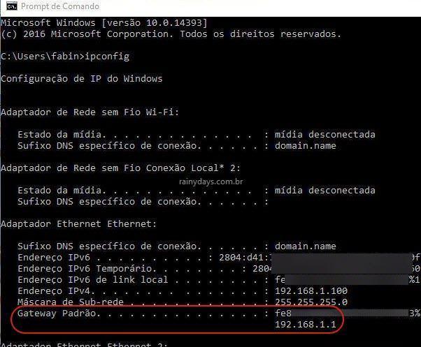 Gateway Padrão da internet quando usa cabo