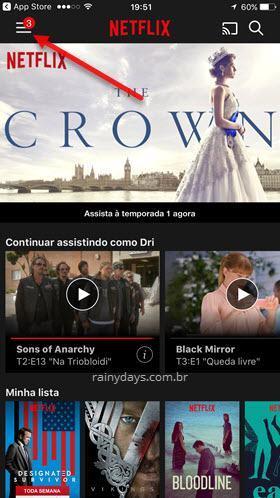 ícone de três traços do Netflix