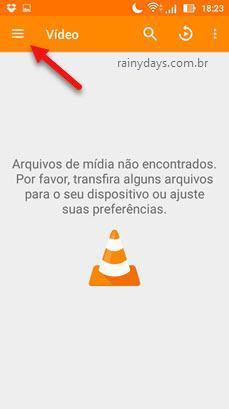 ícone de três traços do VLC Android