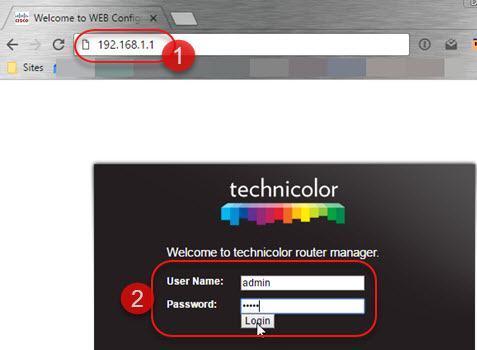 login no modem technicolor td5336