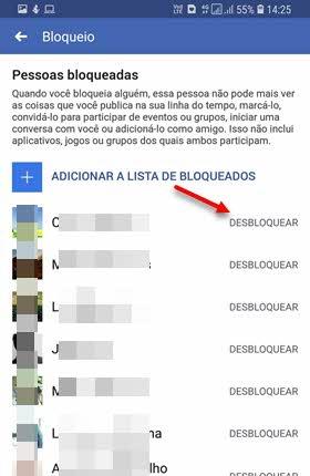 Pessoas bloqueadas Facebook app Desbloquear