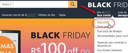 Sua conta Amazon