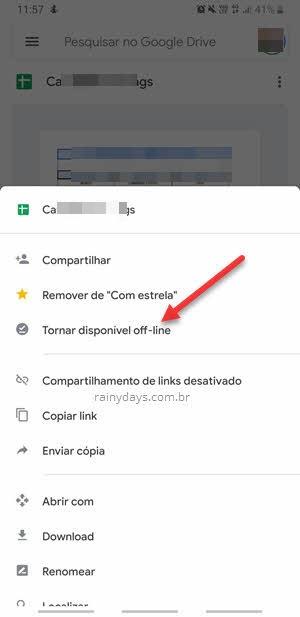 Tornar disponível offline Google Drive aplicativo