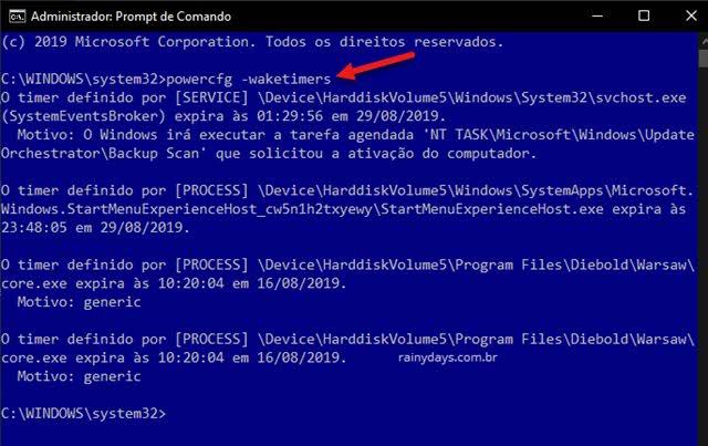 Ver lista de despertadores Prompt de Comando no Windows waketimers