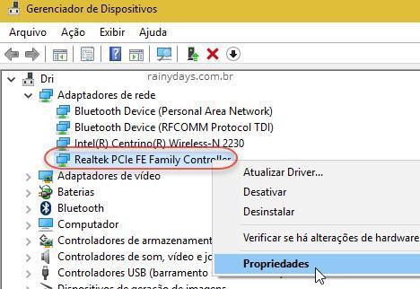 Adaptador de rede Ethernet Propriedades Windows