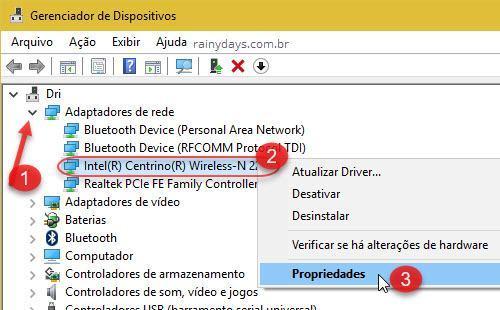 Adaptadores de rede wifi Propriedades Windows