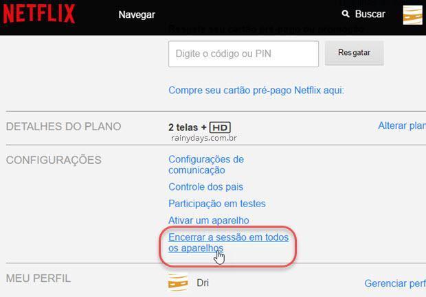 como deslogar remotamente do Netflix