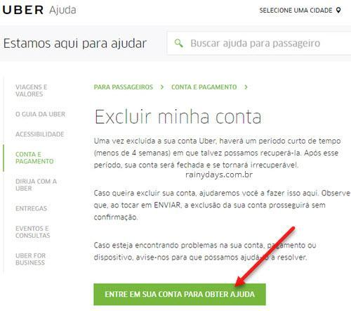 Como excluir conta do Uber