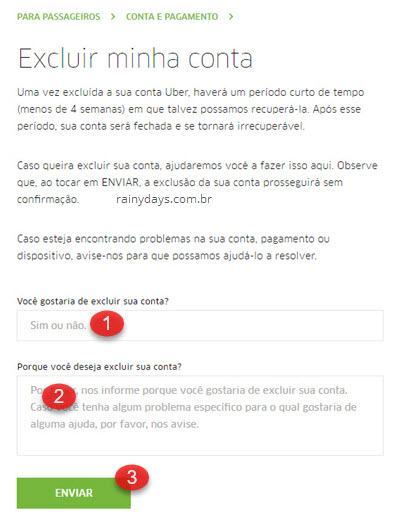 Como excluir conta do Uber 3