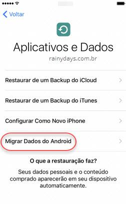 Como migrar do Android para iPhone