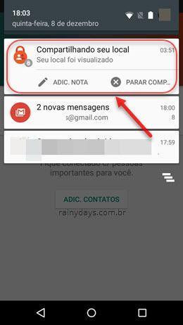 Compartilhando seu local barra notificação Android