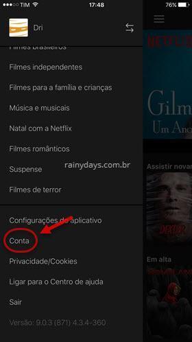 Configurações de conta aplicativo Netflix