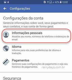 configurações de conta Informações Pessoais aplicativo Facebook