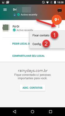 Configurações de contatos de confiança Google