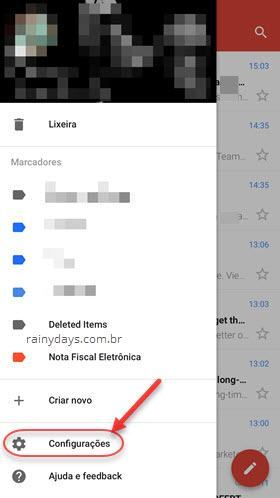 configurações Gmail app