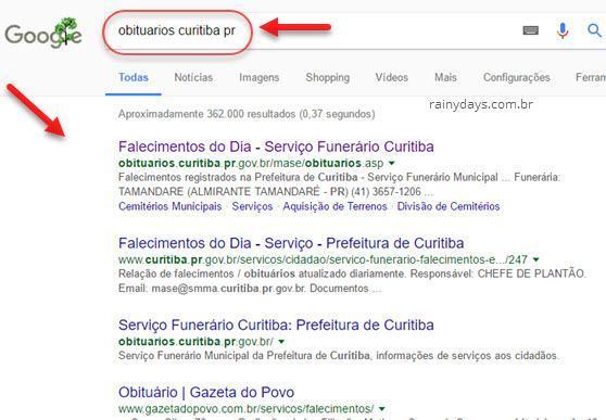 consultar óbito pelo Google