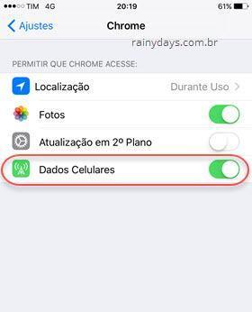 dados celulares para aplicativos no iOS
